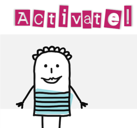 Stick figure with text 'Activate!'