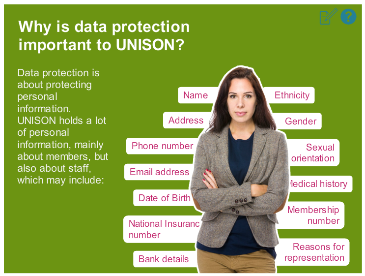 Woman with text 'Why is data protection important to UNISON?' and the names of protected characteristics under the GDPR