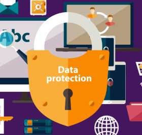 Graphic showing items associated with data protection